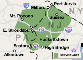 Our New Jersey and Pennsylvania service area map, showing our services in Easton and nearby